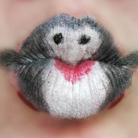 Creative Lips Makeup: Penguins Kiss Lips