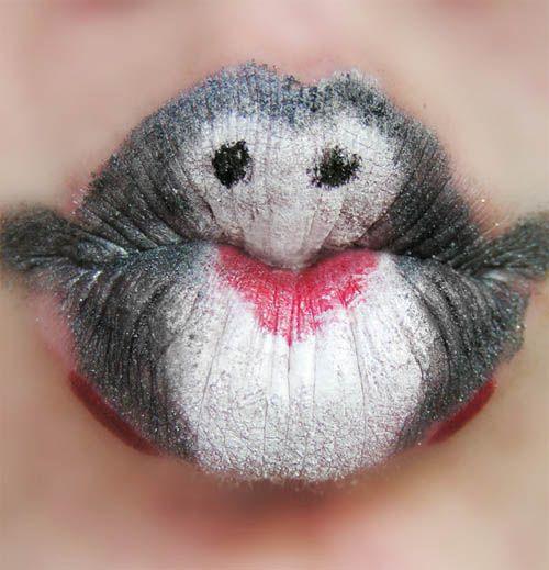 Creative Lips Makeup: Penguins Kiss Lips