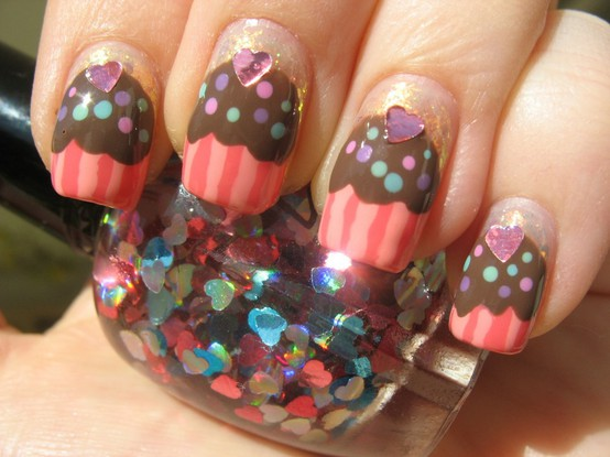 Cupcake Nails with Sequin