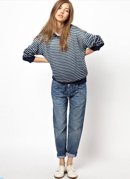 Current Elliott Striped Sweatshirt with Boyfriend jeans