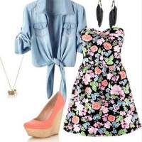 Cute Spring Outfit, Floral print mini strapless dress and pink wedges