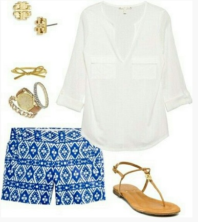 Cute Spring Outfit, white blouse, Aztec print shorts and brown sandles