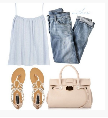 Cute Spring Outfit, white racerback and sandles