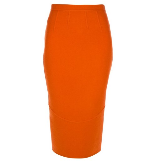 DSQUARED2 fitted pencil skirt in tangerine orange for jewel-tone spring outfit ideas