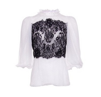 Dolce & Gabbana White and Black Lace Blouse, polka dot fabric