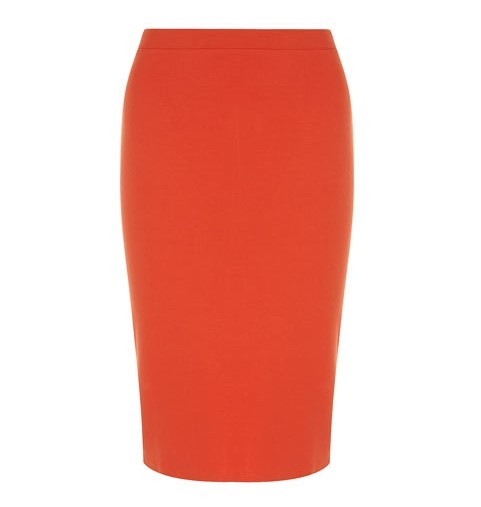 Dorothy Perkins crystal-embellished pencil skirt in tangerine orange for jewel-tone spring outfit ideas