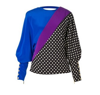EMANUEL UNGARO polka dot silk blouse, blue and purple and black & white polka dot