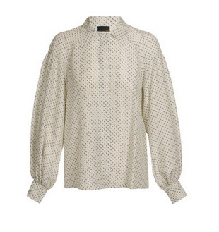 FENDI Dot Perforated Silk Blouse, light greige