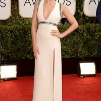 The Glamorous Golden Globe Style - Margot Robbie Gucci crystal embellished winter-white low cut gown