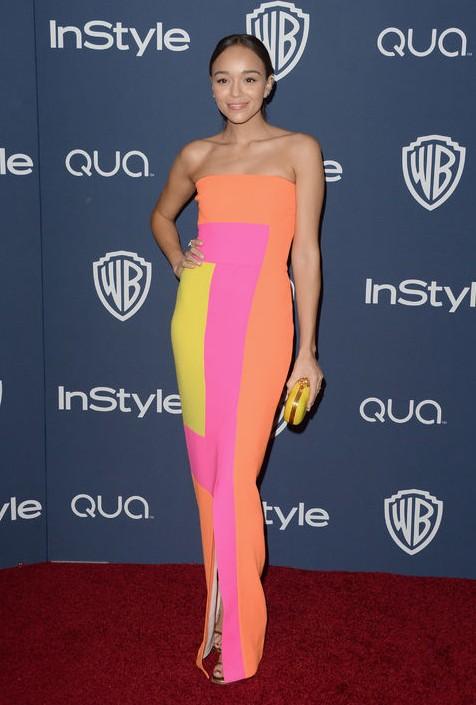 Golden Globes After-Party Dress - Ashley Madekwe neon Roksanda Ilincic column dress
