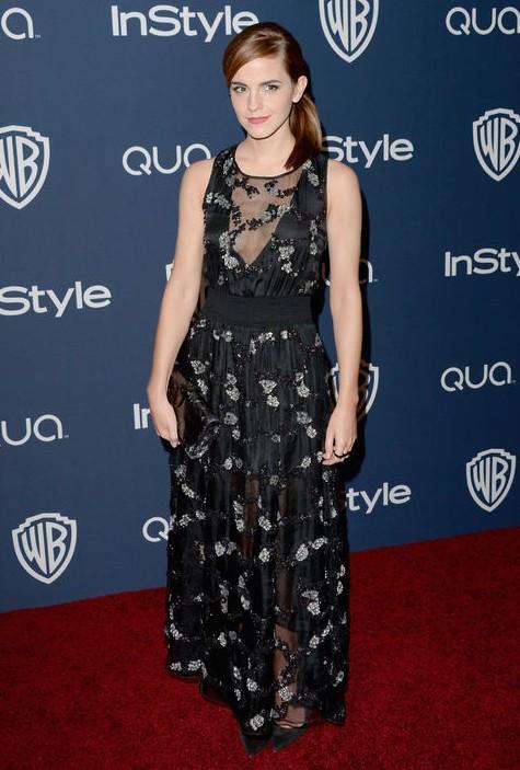 Golden Globes After-Party Dress - Emma Watson black and silver evening dress