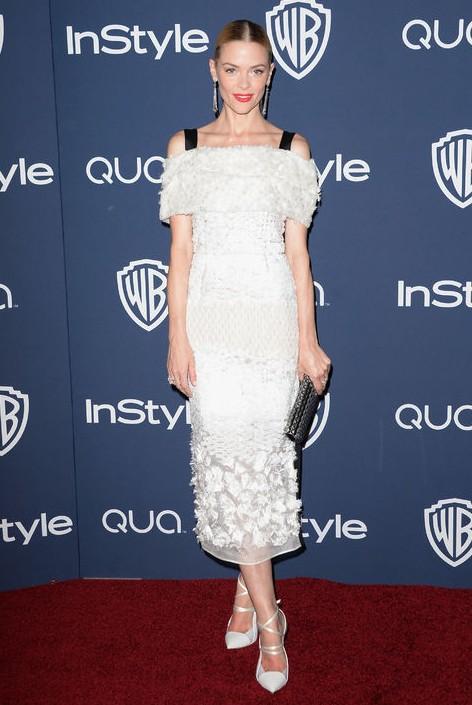 Golden Globes After-Party Dress - Jaime King white Prabal Gurung lace detailed off-the-shoulder dress