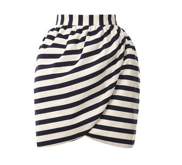 Harvey Faircloth Striped Mini Wrap Skirt, black and white