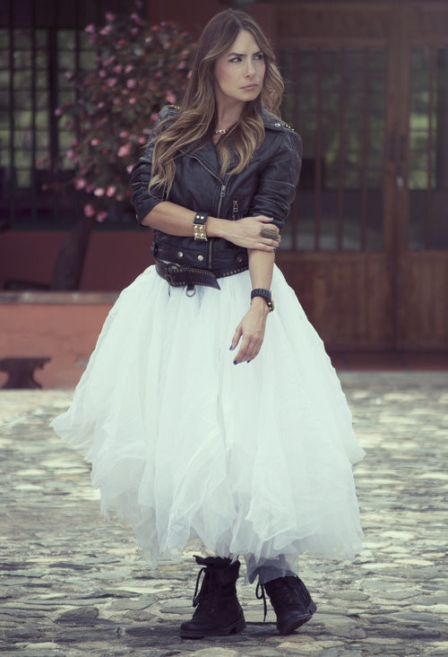 How to Wear the Tulle Skirts: with Leather Coat and Booties