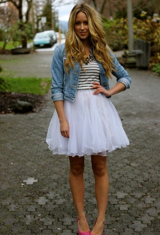 How to Wear the Tulle Skirts: with a Jeans Coat
