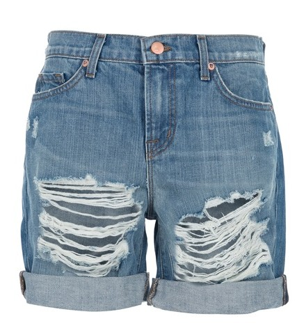 J BRAND distressed denim shorts, blue cotton