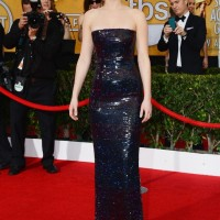Jennifer Lawrence's Another Gorgeous Dark Strapless Gown in Iridescent Sequins by Dior at the SAG Awards for Women 2014