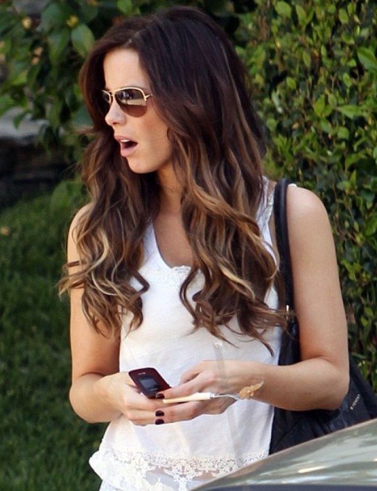 Kate Beckinsale Long Ombre Hairstyle