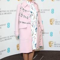 Lea Seydoux Prada spring 2014 chunky crystal embellished swing pink winter coat