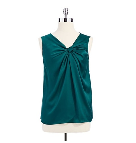 Lord and Taylor silky top in emerald green for jewel-tone spring outfit ideas