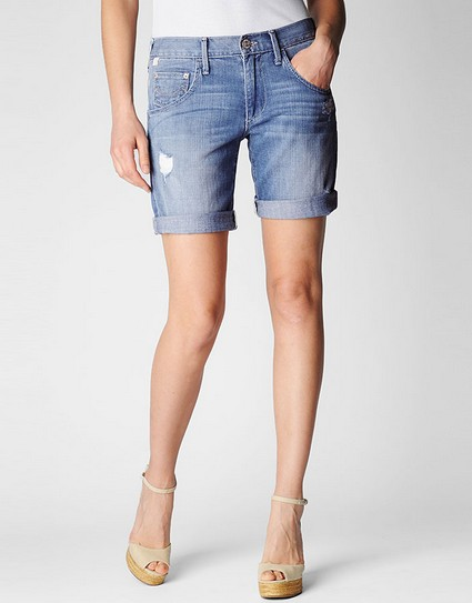MILES WOMENS WHITE DENIM BOYFRIEND SHORTS