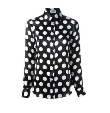 MOSCHINO polka dot blouse, black and white