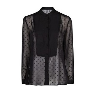 Mango Polka Dot Flecked Motive Blouse, Black