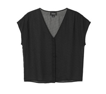 Monki Ros blouse, black, mini flocked dots, see-through creep blouse