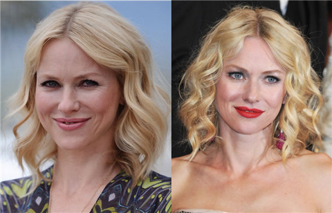 Naomi Watts Hairstyles: Center-parted Medium Waves