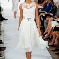 Oscar De La Renta Spring Summer 2014,cutout top and white tulle dress