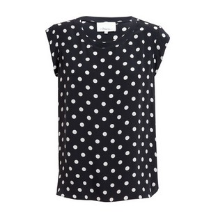 PHILLIP LIM Polka Dot Silk Blouse, black and cream