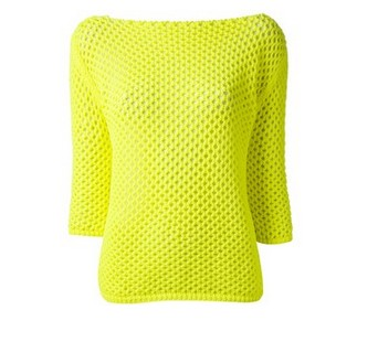 PINKO crochet sweater, bright yellow