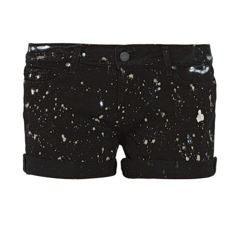 Paige Jimmy Jimmy paint-splatter distressed jean shorts, black