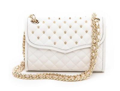 Rebecca Minkoff Mini Quilted Affair with Studs, white and gold