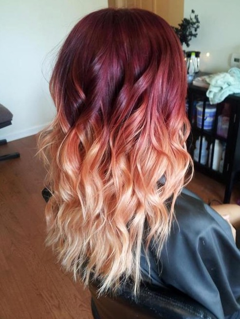 Red to Blonde Ombre Hair Style