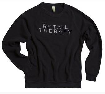 Retail Therapy boyfriend sweatshirt, black