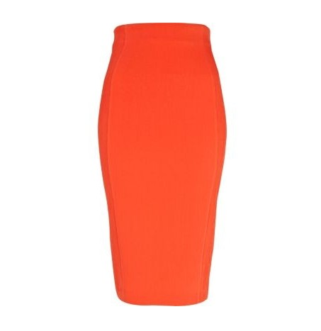 River Island fitted pencil skirt in tangerine orange for jewel-tone spring outfit ideas
