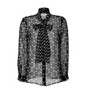 STEFFEN SCHRAUT Silk Miami Dotted Tie Neck Blouse, black