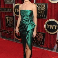Sandra Bullock's Elegant Custom-made Jewel-Toned Green Dress From Lanvin at the SAG Awards