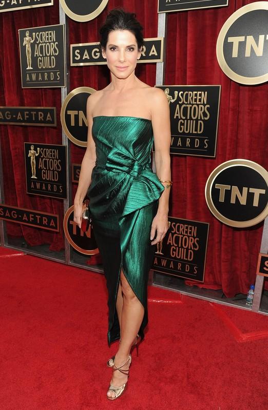 Sandra Bullock's Elegant Custom-made Jewel-Toned Green Dress From Lanvin at the SAG Awards