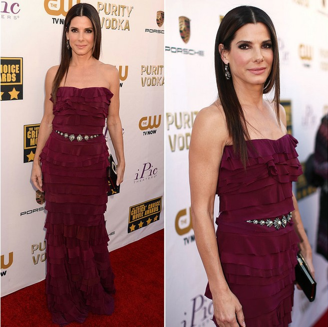 Sandra Bullock's Stunning Berry-hued Strapless Gown by Lanvin for Critics' Choice Awards