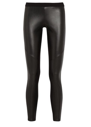 MICHAEL Michael Kors Stretch faux leather and jersey leggings, black-Schoolboy Styling Trick for Spring 2014