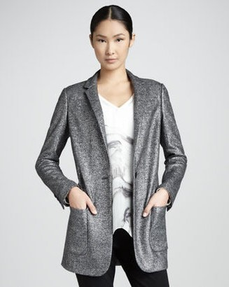 Magaschoni Long Shimmer Jacquard Blazer, silver-Schoolboy Styling Trick for Spring 2014