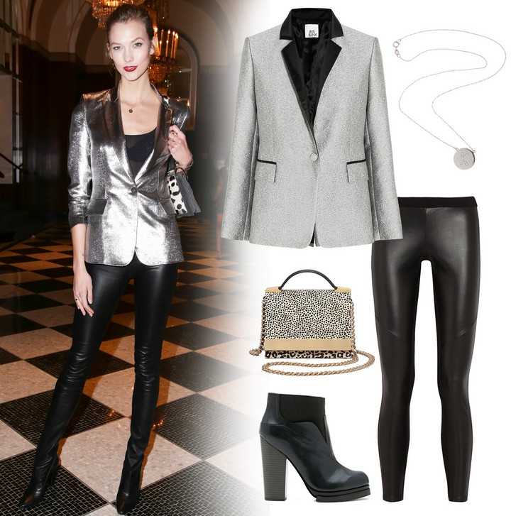 Karlie Kloss Metallic Silver Blazer Outfit with Black Ankle Boots