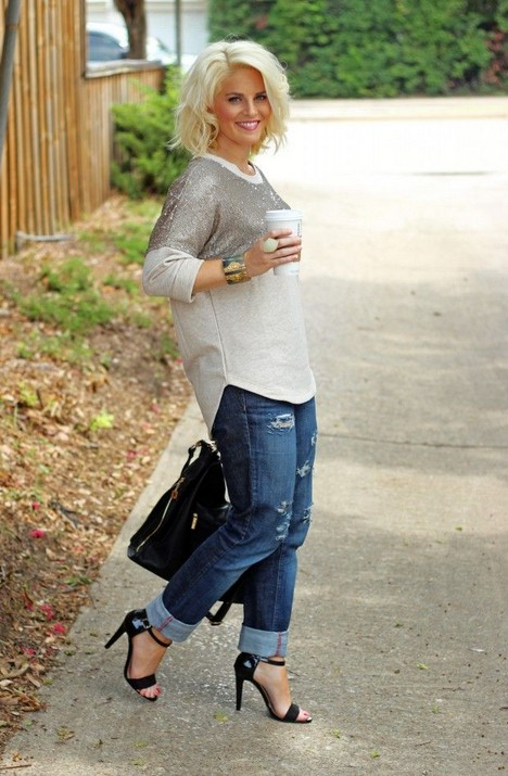Sequin Sweatshirt and Boyfriend Jeans