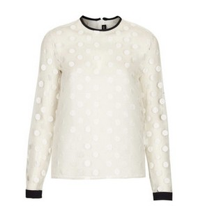 Sheer Spot Blouse by Sister Jane, ivory mesh, oversized dot