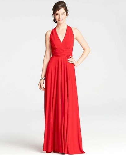 Shop The Golden Globe Style – Ann Taylor Petite Jersey Halter Gown, red