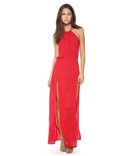 Shop The Golden Globe Style – Blue Life Petite Halter Maxi Slip Dress, tulip red