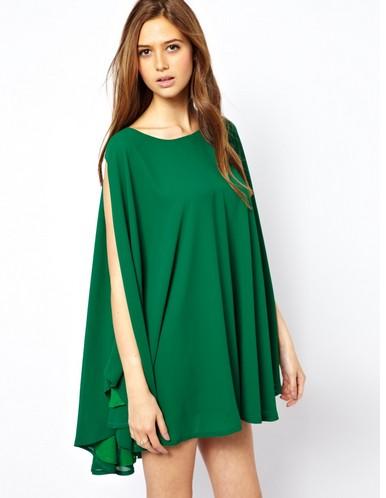 Shop The Golden Globe Style – Jovonnista Swing Cape Dress, dark green