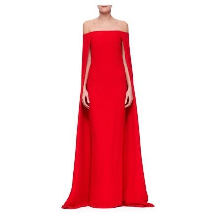 Shop The Golden Globe Style – Ralph Lauren Collection Audrey Cape Off-the-shoulder Evening Gown